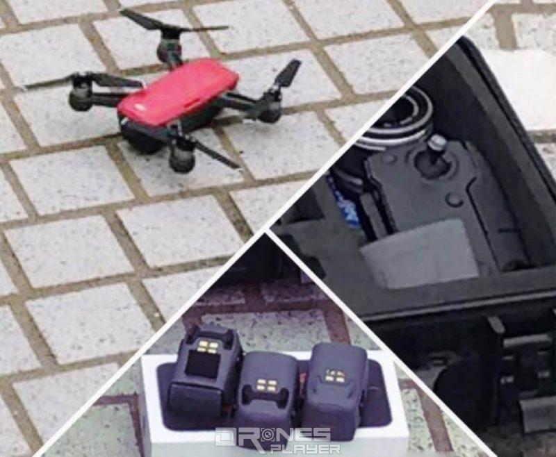 網路流出最新諜照一口氣展示了疑似紅色版的 DJI Spark 無人機、無屏幕折疊式遙控器、以及 Spark 專用的小型充電池。