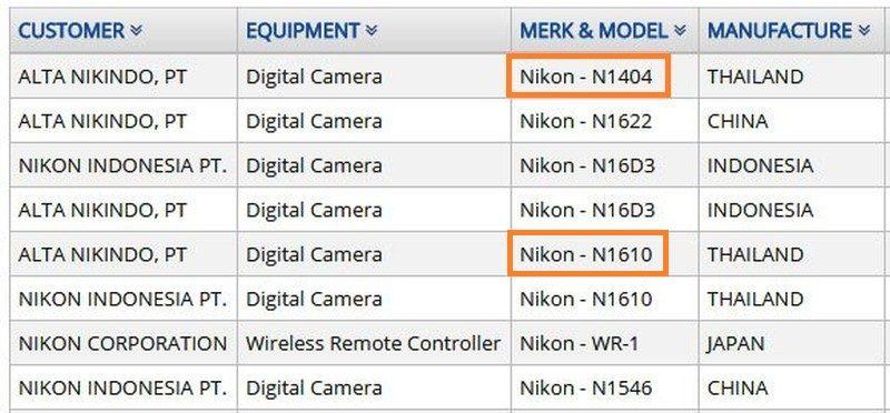 Nikon 已向印尼通訊局註冊了兩個新型號相機,分別是「N1610」及「N1404」。