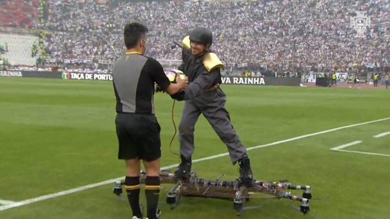 2017 年度葡萄牙盃用無人機載人送球 - 降落