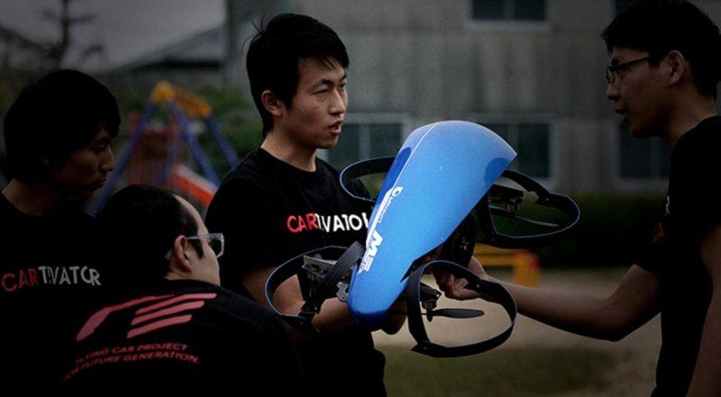 Cartivator 項目負責人中村翼及其開發團隊成員,已於 2014 年製作出 Skydrive 的小尺寸原型機。