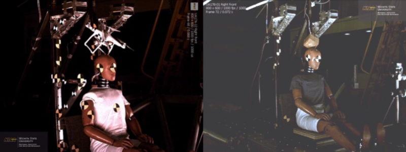 FAA 墜落測試:同質量 DJI Phantom 3 與木塊比較