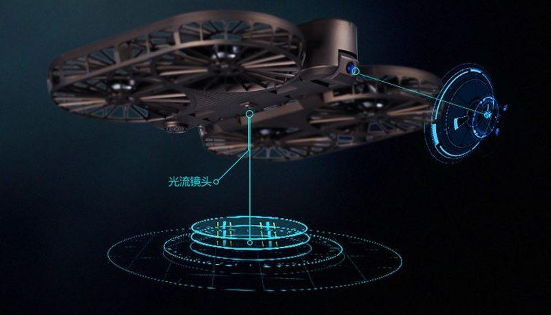 星圖時光無人機底部設有光流感測器,機首則具備電子俯仰雲台。