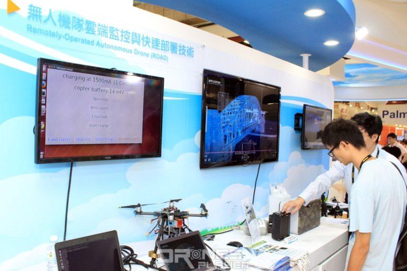 工研院展位上設有電視屏幕播放 4G 遙距操作無人機概念的解說影片。