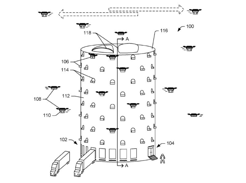 亞馬遜(Amazon)無人機專用多層出貨中心專利設計(1a)