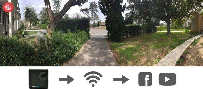 Cameo360 VR 相機可通過 Facebook 或 Youtube 社群平台,即時進行 360 度全景直播。