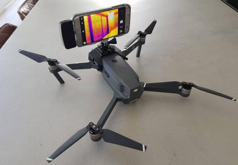Mavic Pro 安裝特製承架及加載 Flir One 熱感鏡頭手機後的模樣。(圖片來源:Jean-Marie Cannie)