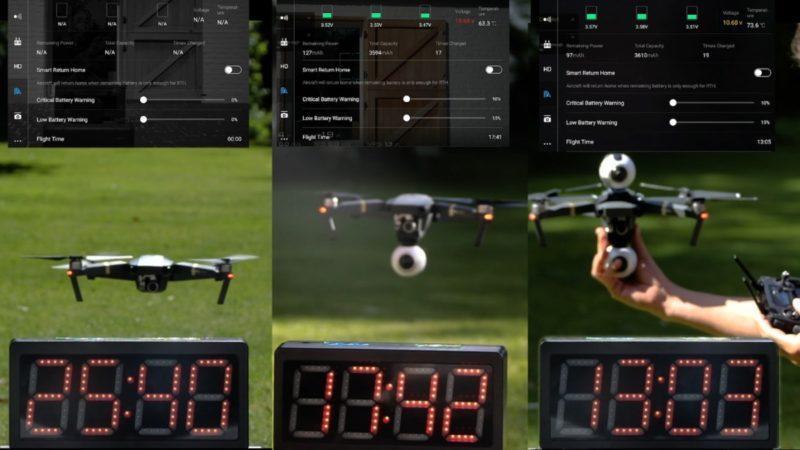 Cannie 實測 Mavic Pro 安裝兩部 Gear 360 相機後,續航時間跌至13分鐘左右。(圖片來源:YouTube 影片截圖)