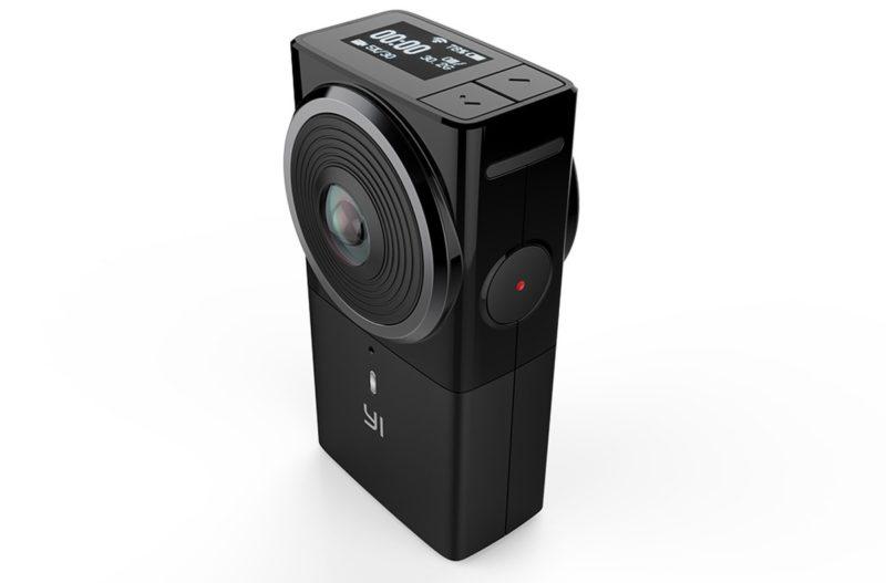 Yi 360 VR 攝影機的外形設計簡約,機側設有錄影鍵,頂部具有 OLED 小屏幕,可顯示電量、拍攝解析度、錄影時間等拍攝資訊。