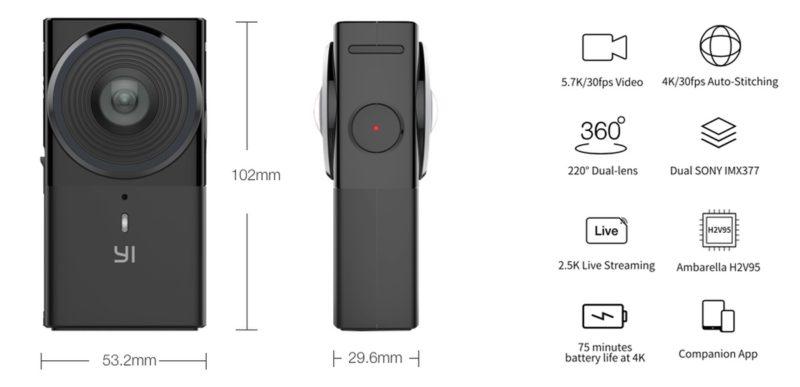 Yi 360 VR 全景相機機身設計力求輕巧,體積為102 x 53.2 x 29.6 毫米,內置兩枚 1,200 萬畫素的 SONY IMX377 感光元件和一枚 Ambarella H2V95 影像處理器。