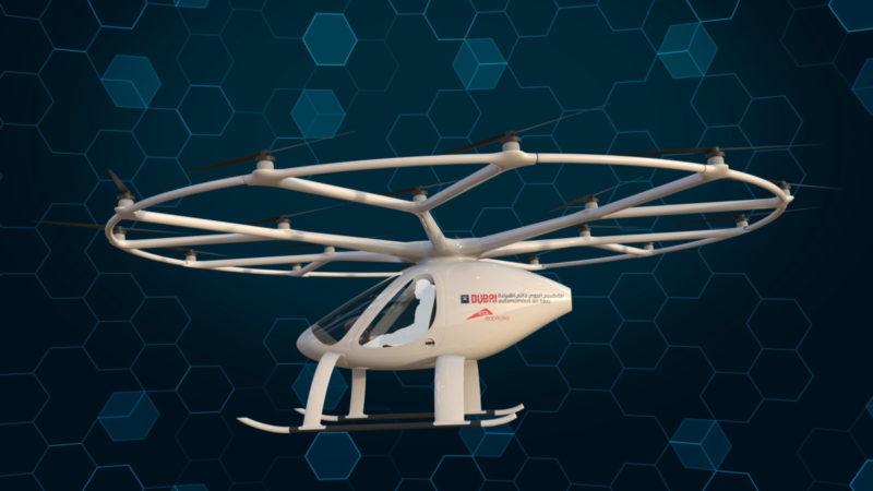 Dubai Autonomous Aerial Taxi - e-volo Volocopter 側面