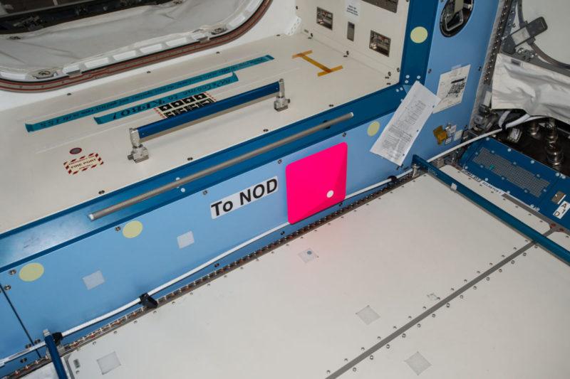 在國際太空站的 Int-Ball 無人機 - 定位標記(照片來源:JAXA/NASA)
