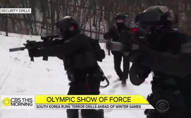 冬奧前,南韓官方為防範恐襲演練。