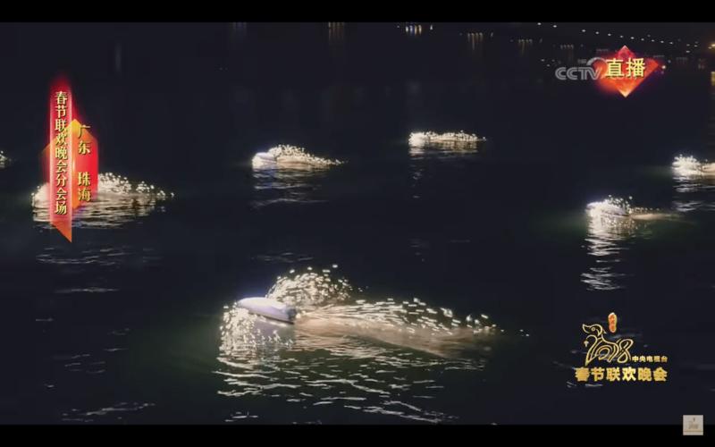 海上無人船綻放花火。