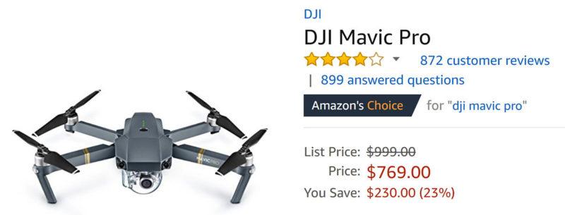 若能在美國直接帶回  Mavic Pro, 價格非常優惠。