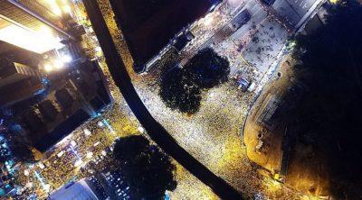 馬來西亞 反政府集會淨選盟現場的航拍照片