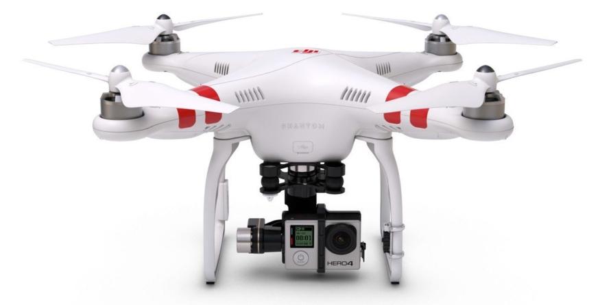 圖中的 DJI Phantom 2 仍可讓用戶自行裝配 GoPro 運動攝影機,但自 Phantom 3 起,整個系列已改為預載自社出品的攝影機。