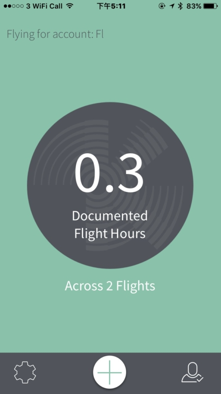 《Kittyhawk》會累積用家的飛行時間和次數,按「+」則可新增記錄,操作簡便。