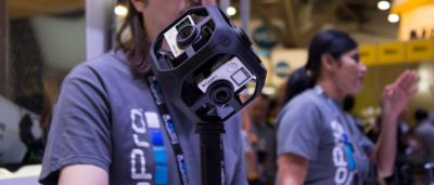GoPro 在 CES 2016 上展出可裝嵌 GoPro 運動相機的球形相機架,可拍攝 360 度的全景影像。