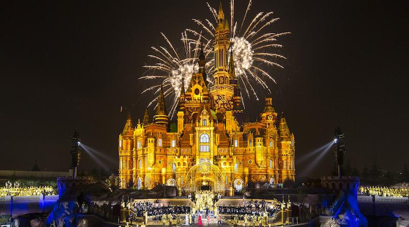 上海 迪士尼 樂園 煙花 航拍