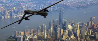 紐約市上空的軍用無人機(模擬圖片)