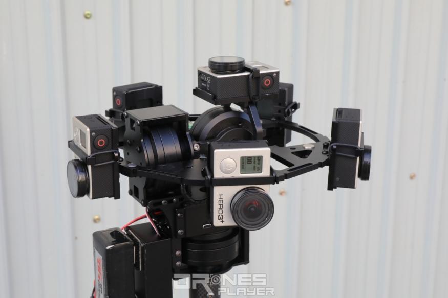 特製增穩雲台裝上 6 部 GoPro 運動相機後,便可拍攝全景影像。