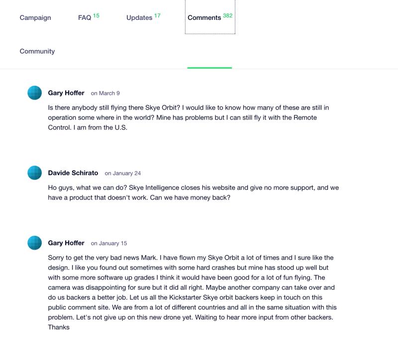 Orbit 的 Kickstarter 頁面有買家投訴產品出現問題,但無人跟進。