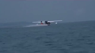 疑似順豐無人機在海上起飛