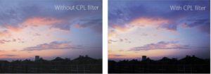有使用 CPL 濾鏡的照片(右)色彩比沒有使用(左)時飽和度高。