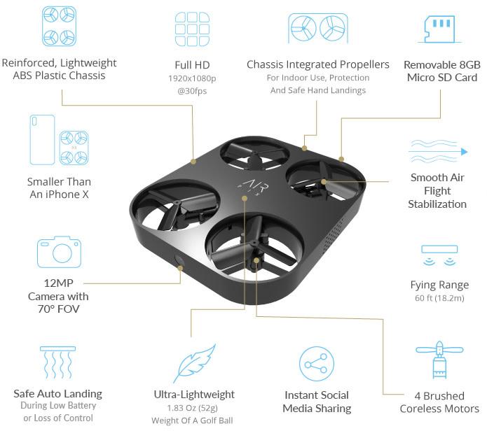可自主飛行拍攝 AirSelfie 推自拍無人機 Air Pix 早鳥定價 79 美元
