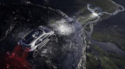 Audi 奢侈概念設計 以無人機作車頭照明燈?