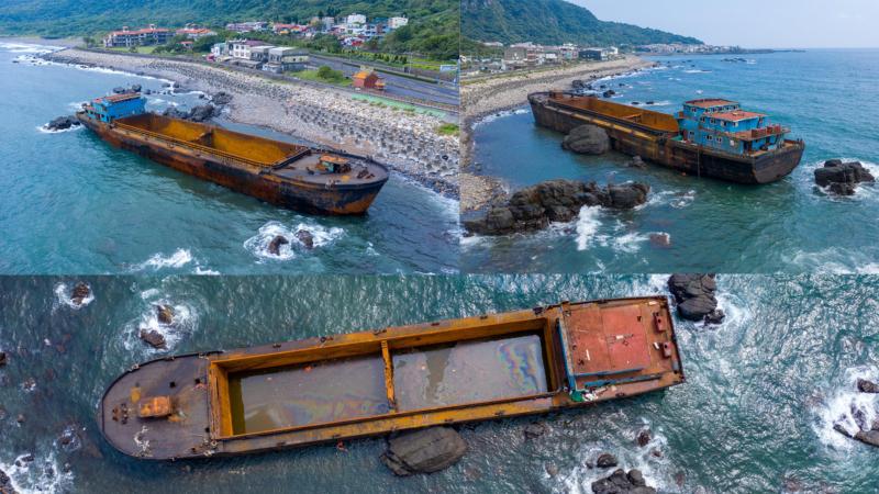 空拍看幽靈船擱淺宜蘭大溪漁港 交通部研判屬大陸運砂船