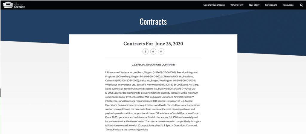 美國防部簽署 10 億美金合約 為特種作戰部隊提升無人機情監偵實力