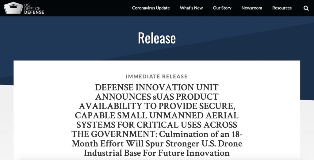 美國防部列 5 家可信公司 可供應小型無人機系統予聯邦政府