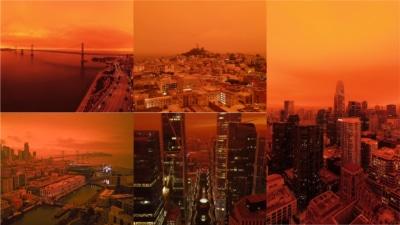 沒加濾鏡! 山火使加州天空染成橙紅色 航拍加上配樂像極科幻電影